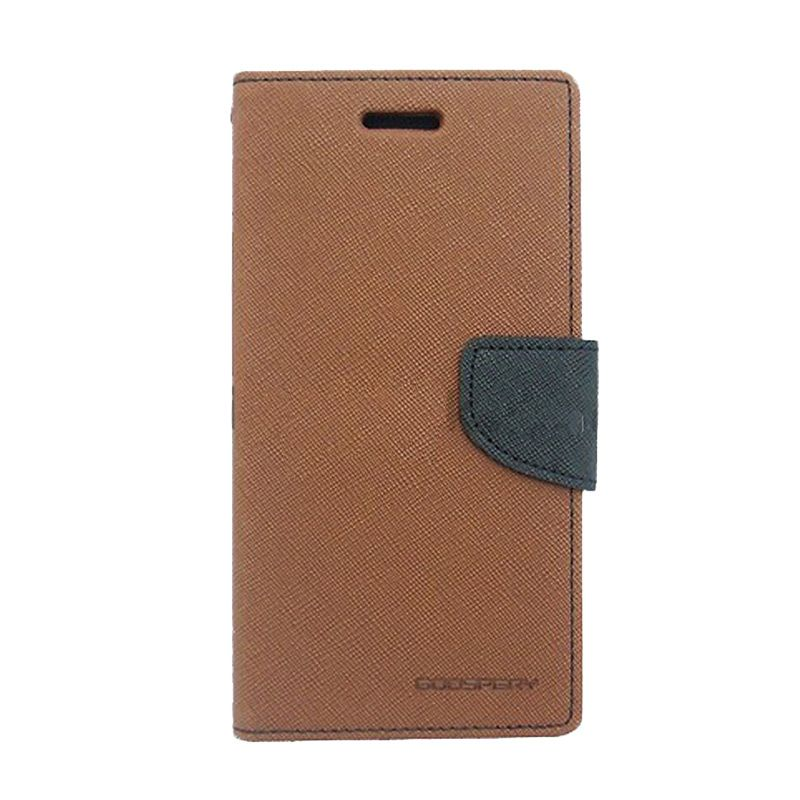 Mercury Goospery Fancy Diary Brown Black Flip Cover Casing for Galaxy Y Duos