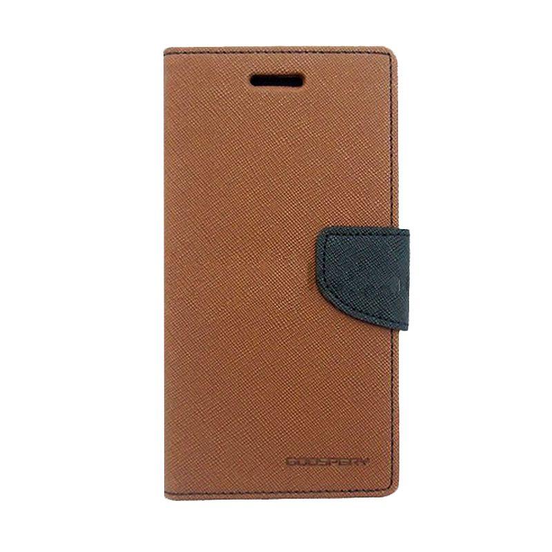 Mercury Goospery Fancy Diary Brown Black Flip Cover Casing for Xiaomi Note 2
