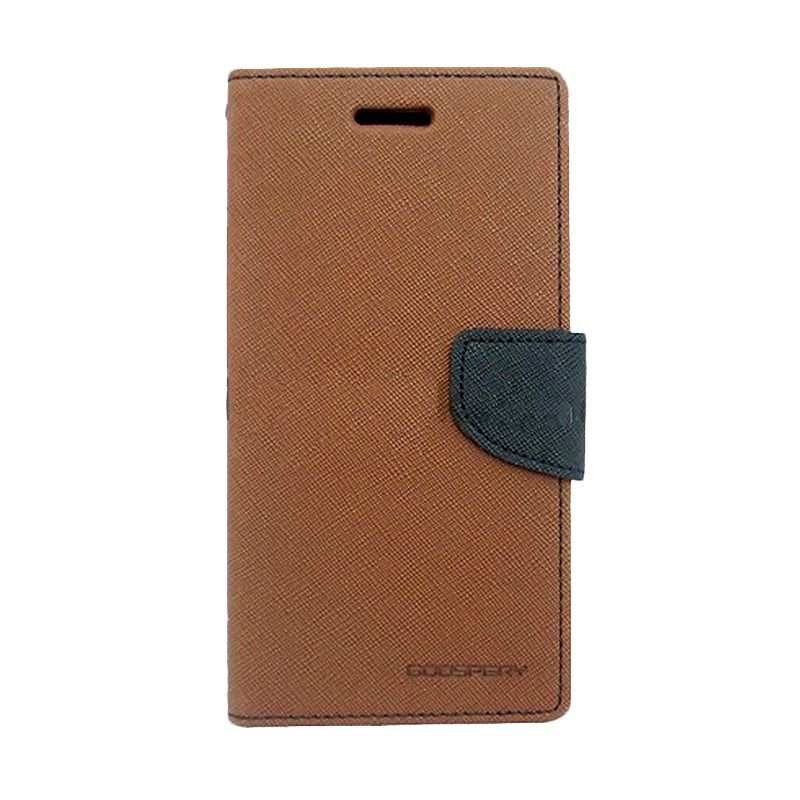 Mercury Goospery Fancy Diary Brown Black Flip Cover Casing for Xiaomi Note