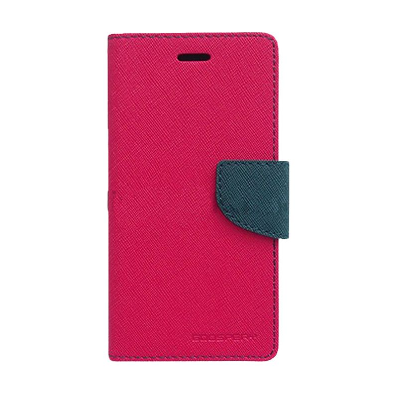 Mercury Goospery Fancy Diary Hot Pink Navy Casing for Galaxy E5