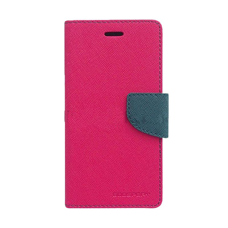 Mercury Goospery Fancy Diary Hot Pink Navy Casing for Galaxy Mega 2