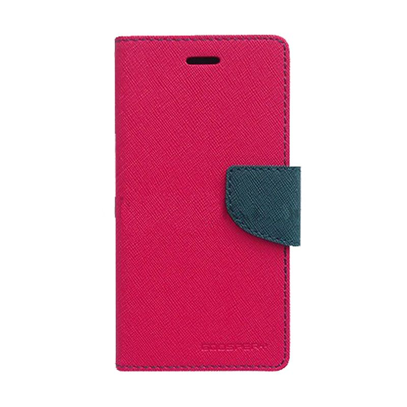 Mercury Goospery Fancy Diary Hot Pink Navy Casing for Samsung Galaxy S6 EDGE
