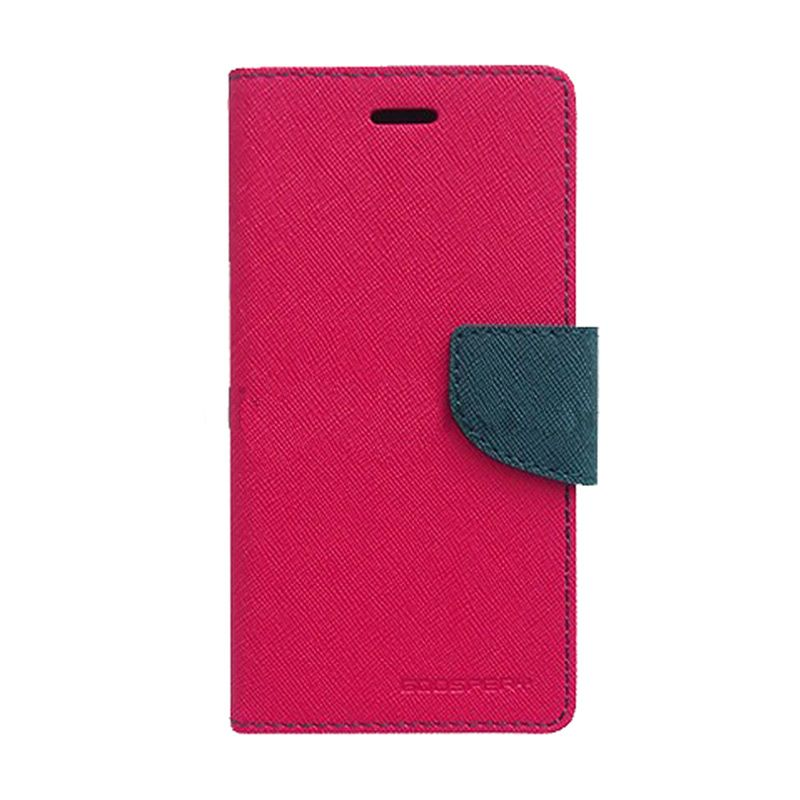 Mercury Goospery Fancy Diary Hot Pink Navy Flip Cover Casing for Galaxy S4 Mini