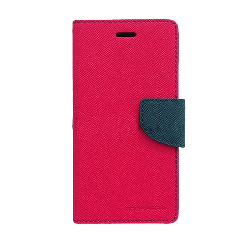 Mercury Goospery Fancy Diary Hot Pink Navy Flip Cover Casing for Xiaomi Note
