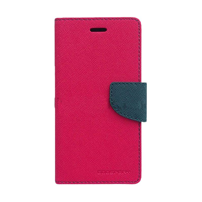 Mercury Goospery Fancy Diary Hot Pink Navy Casing for HTC New One