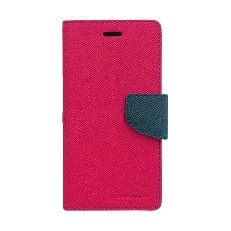 Mercury Goospery Fancy Diary Hot Pink Navy Casing for Xperia M2