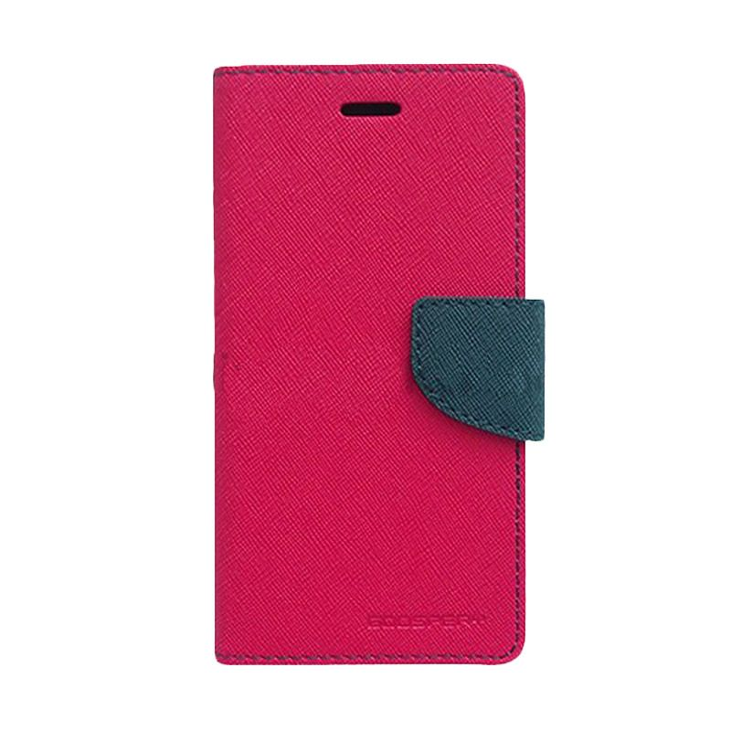 Mercury Goospery Fancy Diary Hot Pink Navy Flip Cover Casing for Galaxy Note 4