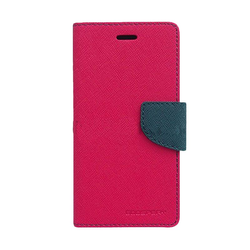 Mercury Goospery Fancy Diary Hot Pink Navy Flip Cover Casing for Galaxy Y Duos