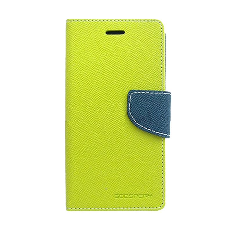 Mercury Goospery Fancy Diary Lime Navy Flip Cover Casing for Galaxy Mega 6.3