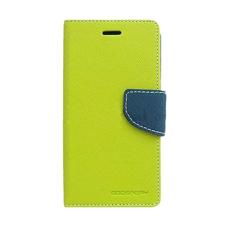 Mercury Goospery Fancy Diary Lime Navy Flip Cover Casing for LG G3 Stylus