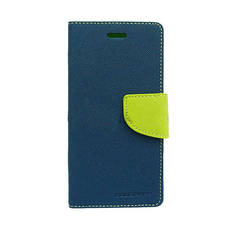 Mercury Goospery Fancy Diary Navy Lime Flip Cover Casing for Galaxy Grand