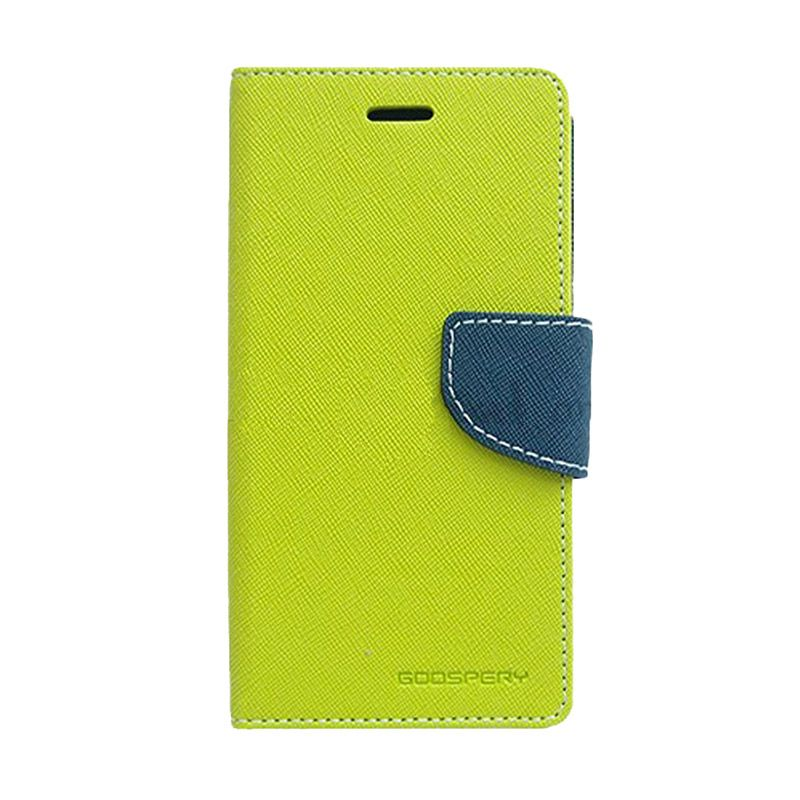Mercury Goospery Fancy Diary Lime Navy Flip Cover Casing for Galaxy Note 4