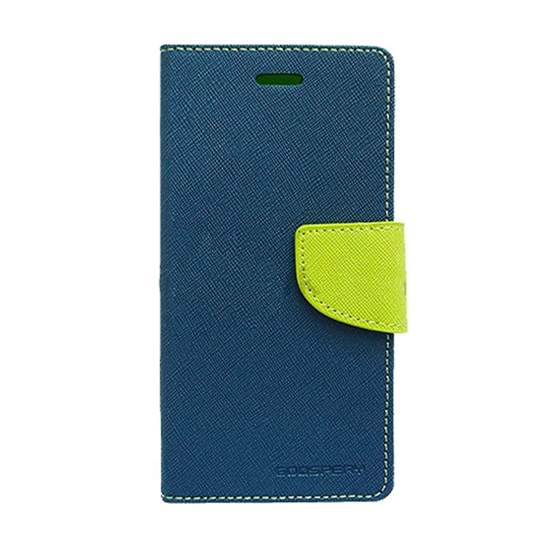 Mercury Goospery Fancy Diary Navy Lime Casing for Galaxy S5