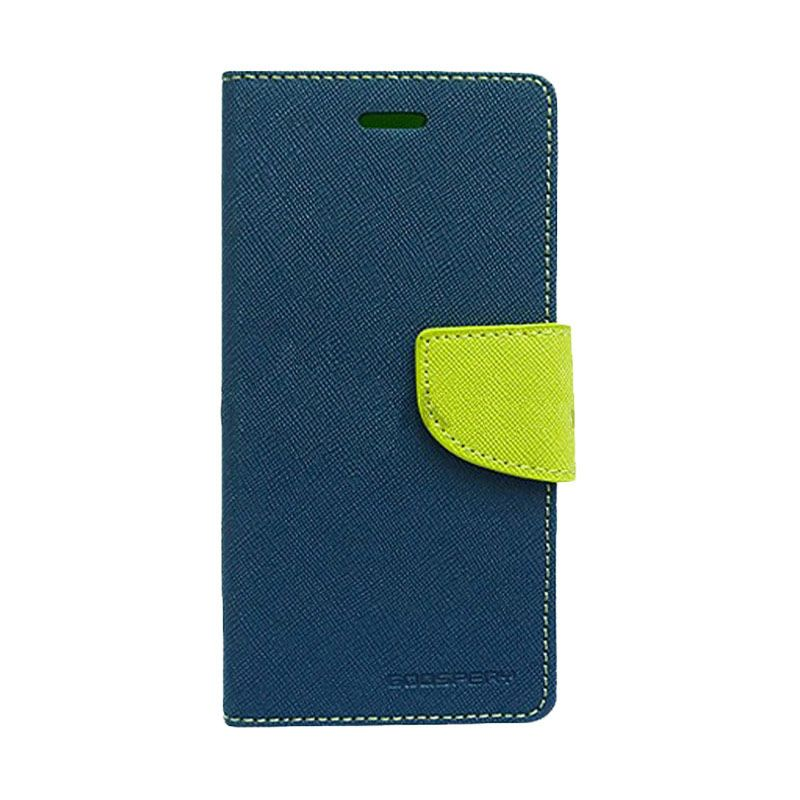 Mercury Goospery Fancy Diary Navy Lime Casing for HTC One Mini