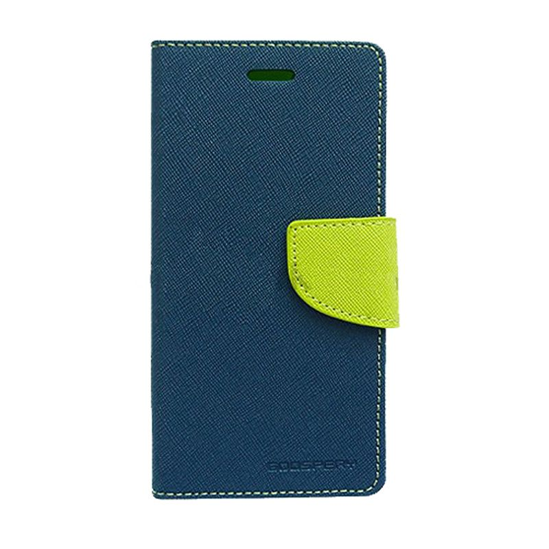 Mercury Goospery Fancy Diary Navy Lime Casing for Motorola Moto E
