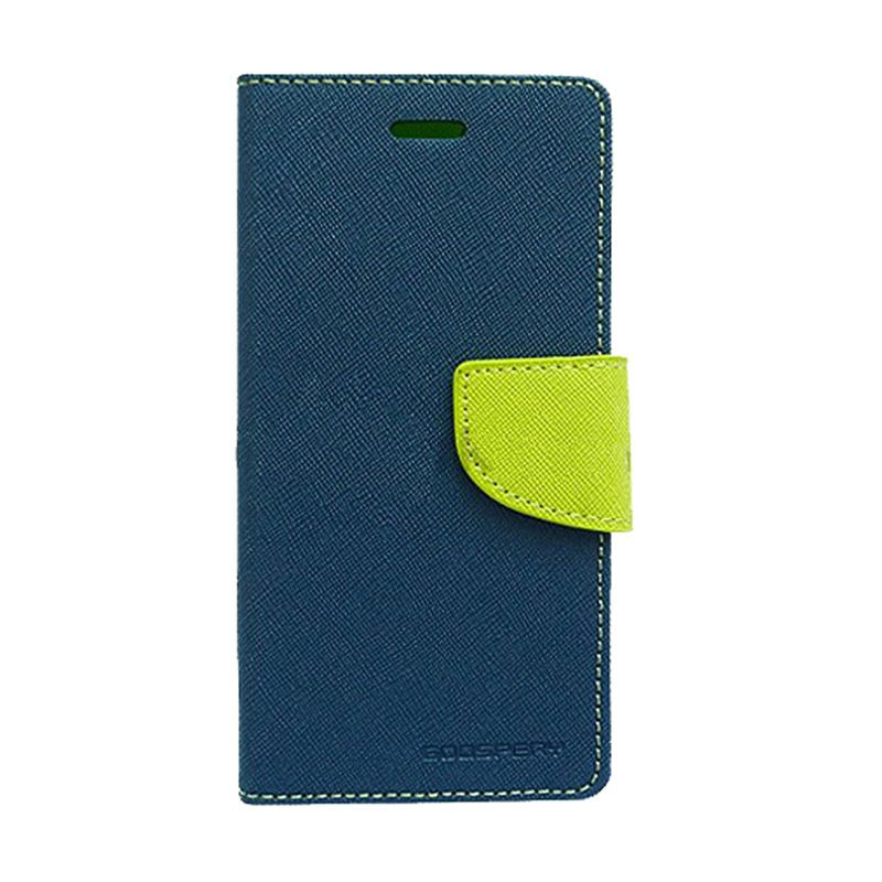 Mercury Goospery Fancy Diary Navy Lime Casing for Samsung Galaxy Note 2