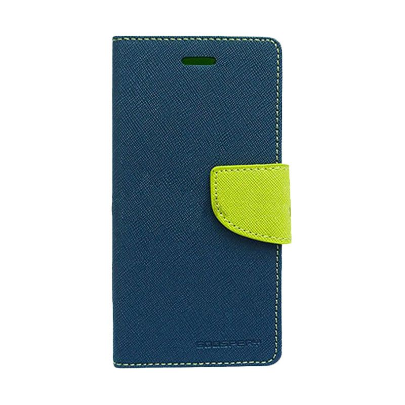 Mercury Goospery Fancy Diary Navy Lime Casing for Galaxy Note 3 Neo