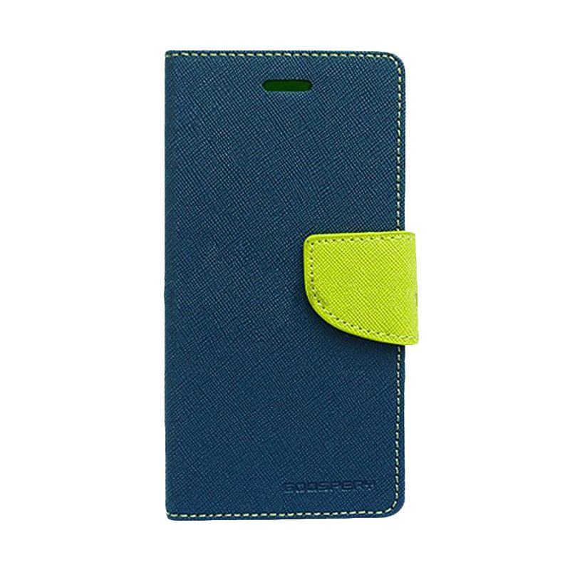 Mercury Goospery Fancy Diary Navy Lime Flip Cover Casing for Asus Zenfone 6