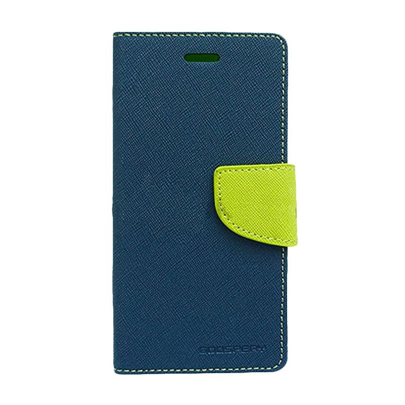 Mercury Goospery Fancy Diary Navy Lime Flip Cover Casing for Galaxy Mega 5.8