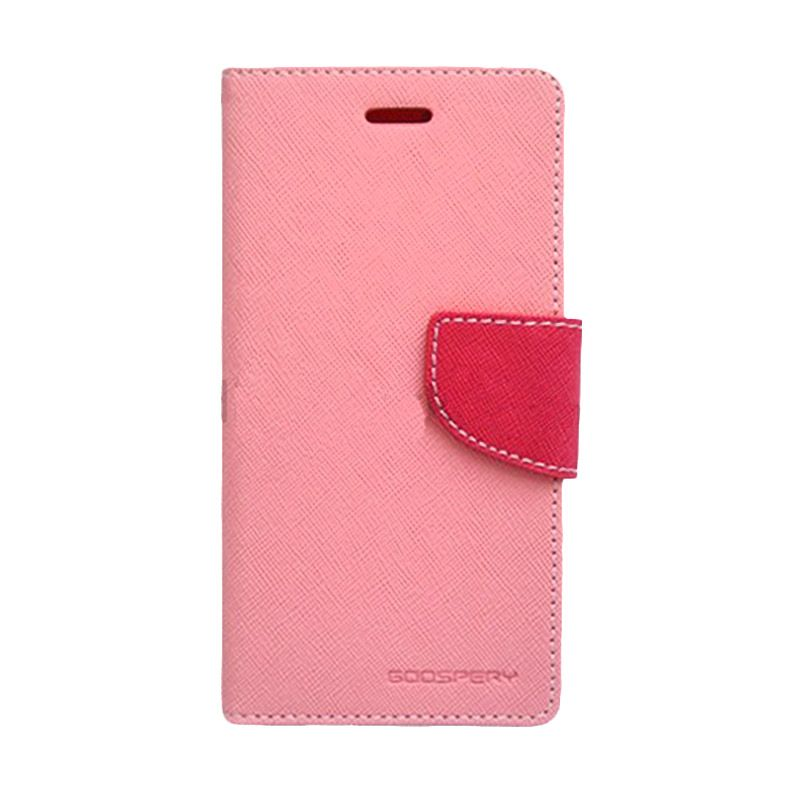 Mercury Goospery Fancy Diary Pink Hot Pink Casing for Galaxy Mega 6.3