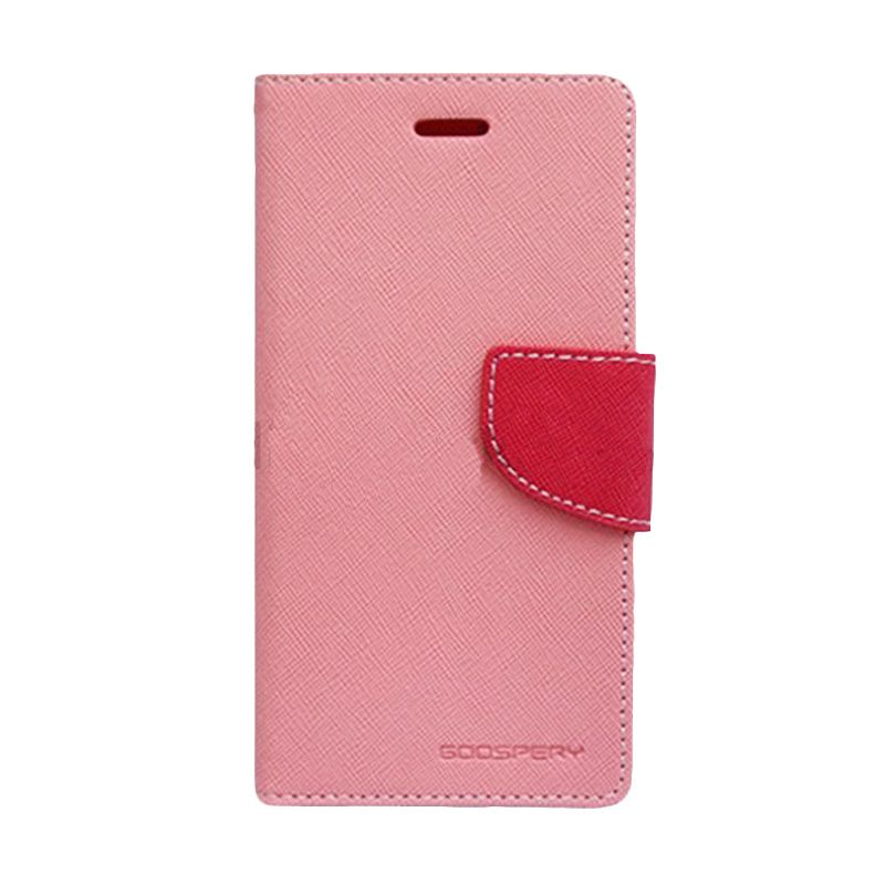 Mercury Goospery Fancy Diary Pink Hot Pink Flip Cover Casing for Galaxy Trend Lite