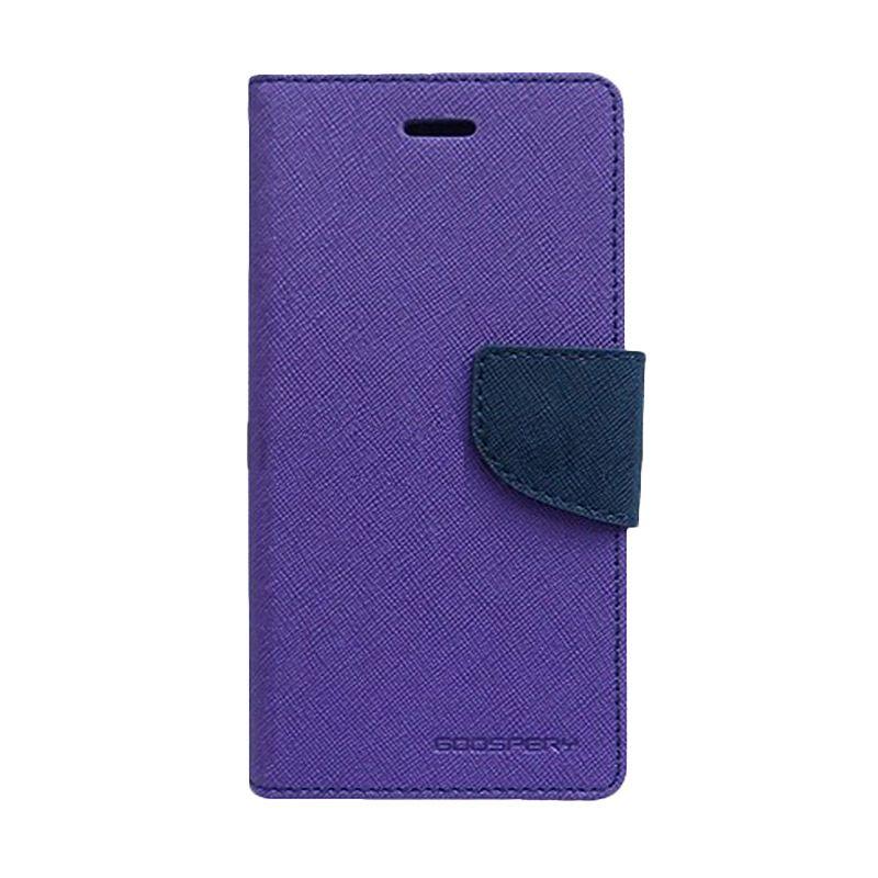Mercury Goospery Fancy Diary Purple Navy Flip Cover Casing for Galaxy Note Edge