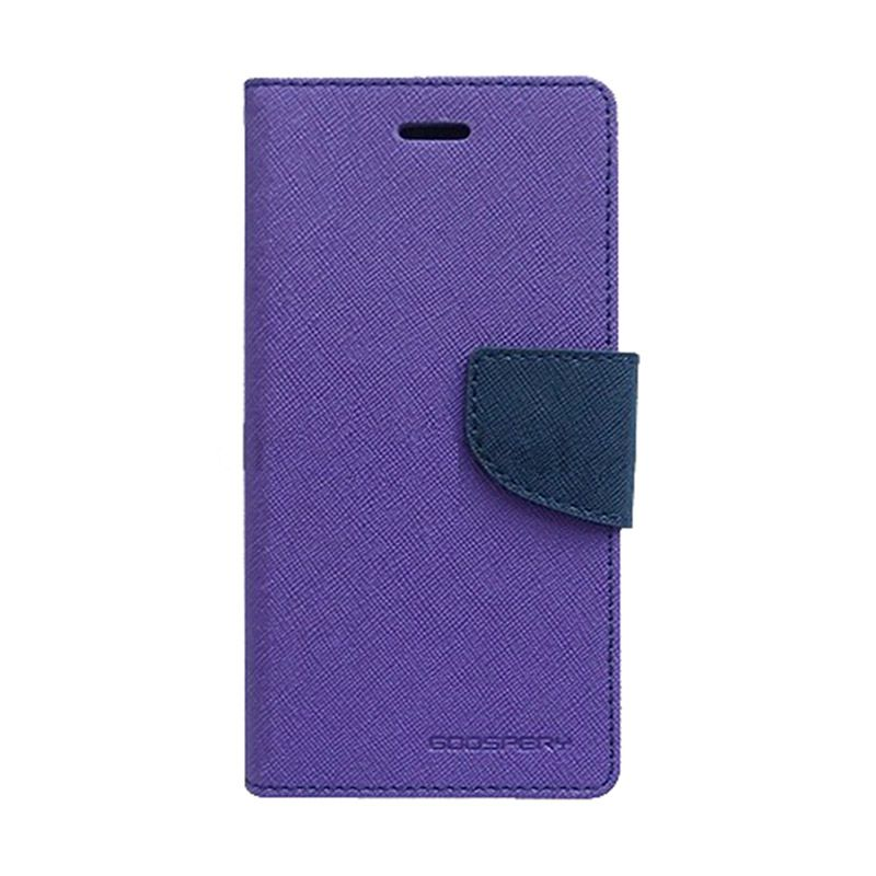 Mercury Goospery Fancy Diary Purple Navy Flip Cover Casing for Galaxy Mega 2