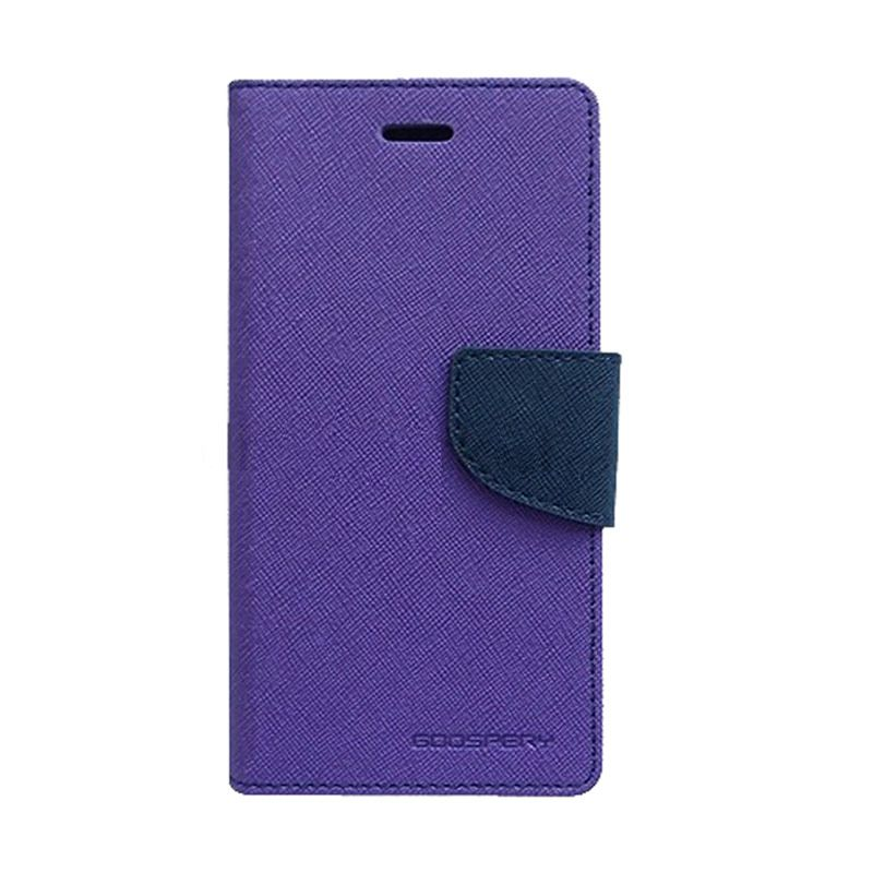 Mercury Goospery Fancy Diary Purple/Navy Casing for Samsung Galaxy Grand Prime