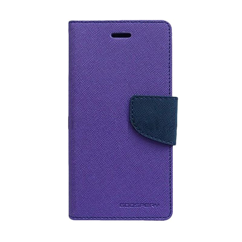 Mercury Goospery Fancy Diary Purple Navy Flip Cover Casing for Galaxy Ace 4