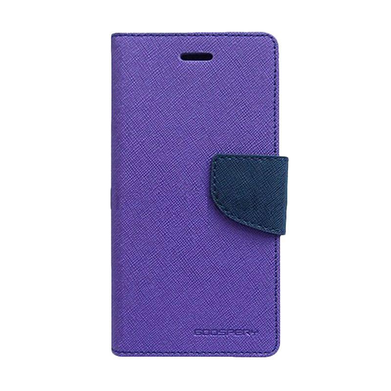 Mercury Goospery Fancy Diary Purple Navy Flip Cover Casing for LG G3