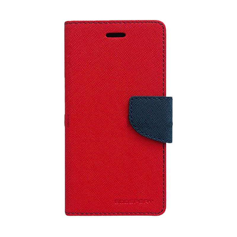 Mercury Goospery Fancy Diary Red Navy Casing for Asus Zenfone 4S