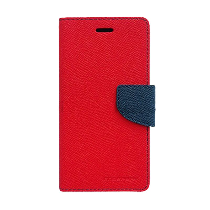 Mercury Goospery Fancy Diary Red Navy Casing for Galaxy Mega 5.8