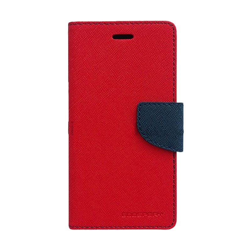 Mercury Goospery Fancy Diary Red Navy Casing for HTC New One