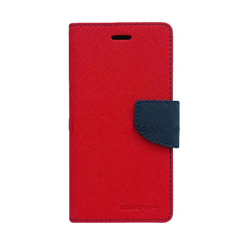 Mercury Goospery Fancy Diary Red Navy Flip Cover Casing for HTC One Mini