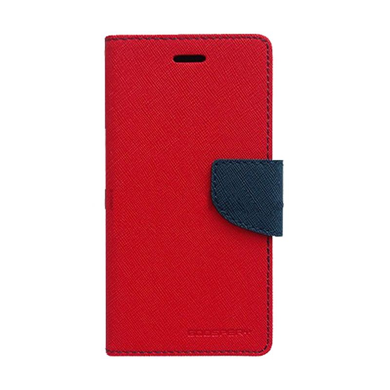 Mercury Goospery Fancy Diary Red Navy Casing for Samsung Galaxy Grand Prime