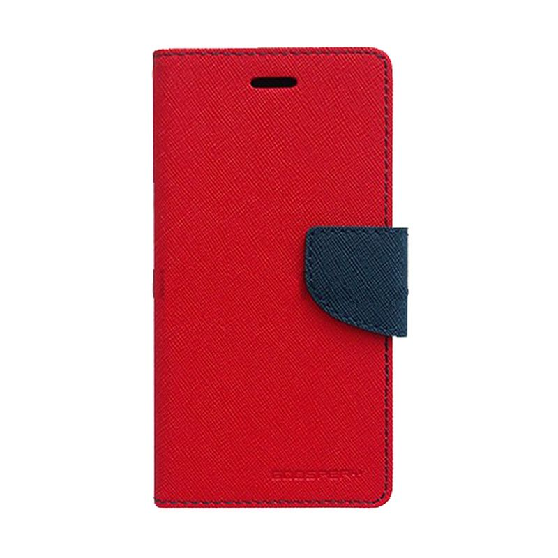 Mercury Goospery Fancy Diary Red Navy Casing for Samsung Galaxy Note 2