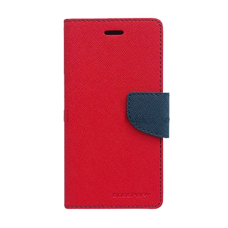 Mercury Goospery Fancy Diary Red Navy Flip Cover Casing for Galaxy Mega 2