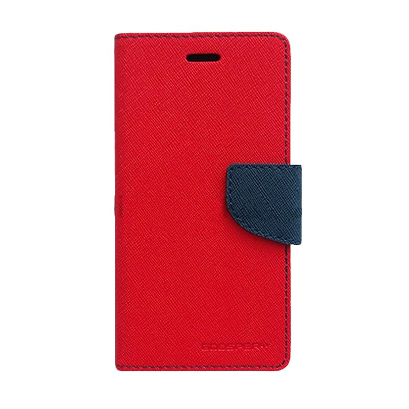 Mercury Goospery Fancy Diary Red Navy Flip Cover Casing for Galaxy S4 Mini