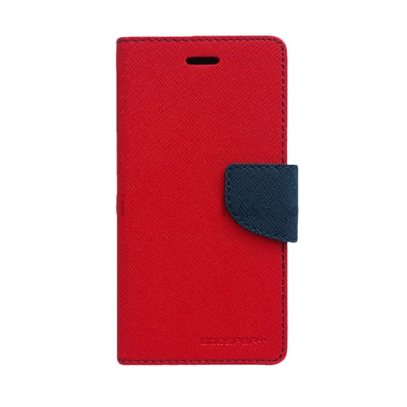 Mercury Goospery Fancy Diary Red Navy Flip Cover Casing for LG G3 Stylus