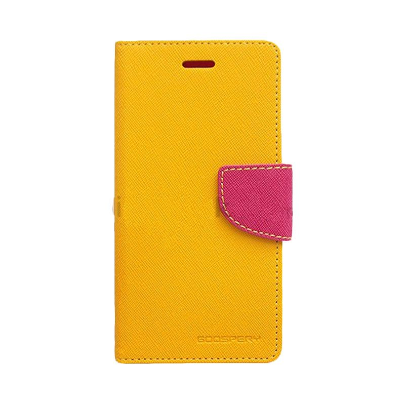 Mercury Goospery Fancy Diary Yellow Hot Pink Casing for Samsung Galaxy Note 2