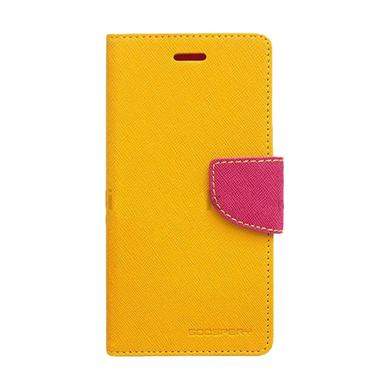 Mercury Goospery Fancy Diary Yellow Hot Pink Casing for Galaxy A3