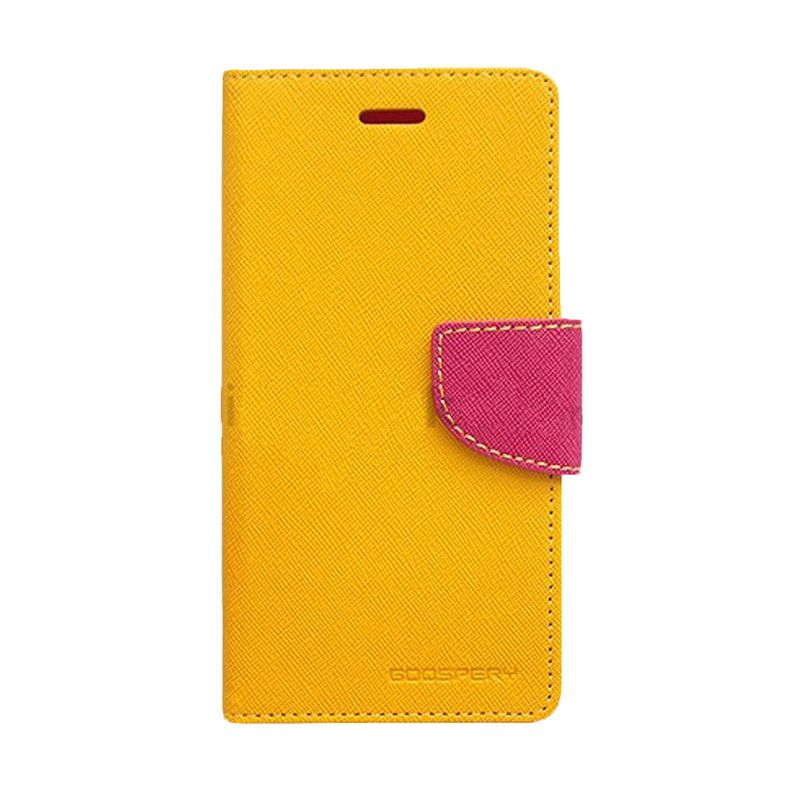 Mercury Goospery Fancy Diary Yellow Hot Pink Casing for Galaxy Grand 2