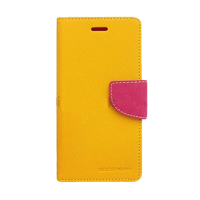 Mercury Goospery Fancy Diary Yellow Hot Pink Casing for Galaxy Grand
