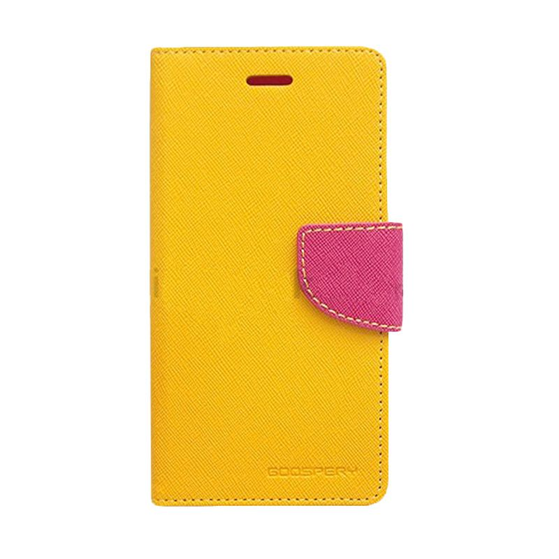 Mercury Goospery Fancy Diary Yellow Hot Pink Casing for Galaxy Mega 6.3