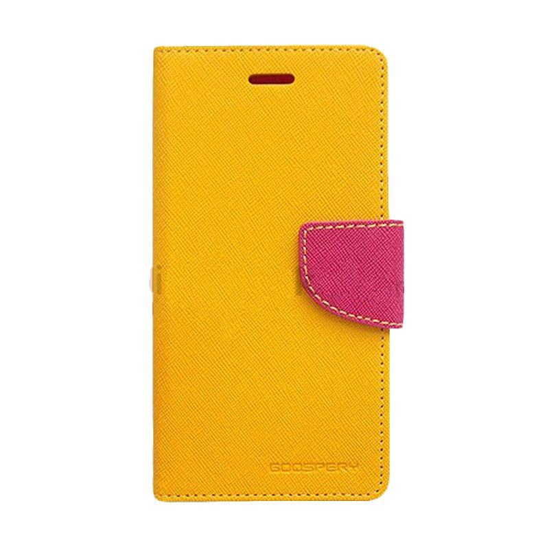 Mercury Goospery Fancy Diary Yellow Hot Pink Flip Cover Casing for HTC One Mini