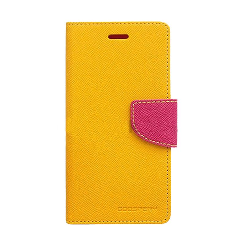Mercury Goospery Fancy Diary Yellow Hot Pink Casing for Samsung Galaxy S6