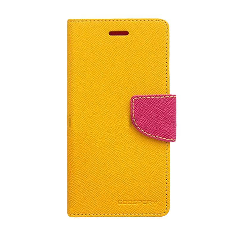 Mercury Goospery Fancy Diary Yellow Hot Pink Flip Cover Casing for Galaxy Ace 4