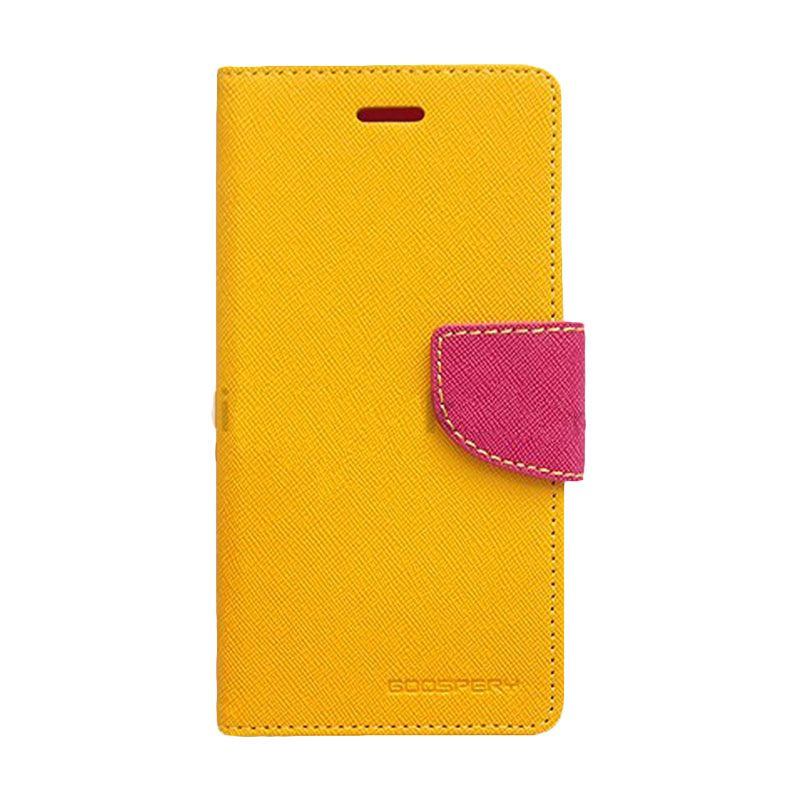 Mercury Goospery Fancy Diary Yellow Hot Pink Flip Cover Casing for Galaxy Y Duos