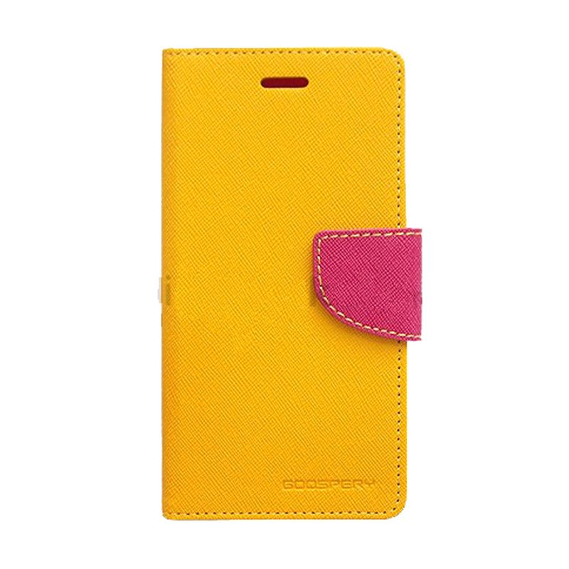 Mercury Goospery Fancy Diary Yellow Hot Pink Casing for Galaxy J1