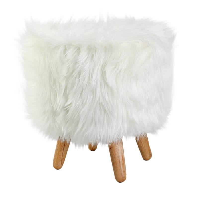 CURATED HOME Faux Fur White Bangku